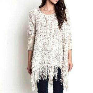 Umgee USA Softest Sweater Poncho Ivory Size S/M